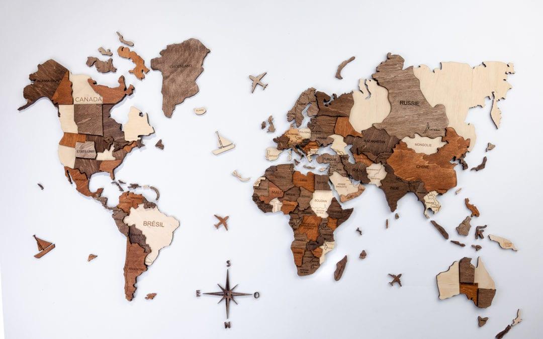 3D Wooden Travel Map
